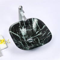 400x400x140mm Tempered Glass Art Basin Square Shape Double Layer