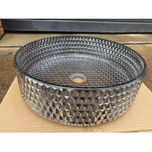 395x395x125mm Silver Tempered Glass Art Basin Round Shape