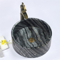 420x420x140mm Above Counter Basin Nature Stone Round Marble Surface