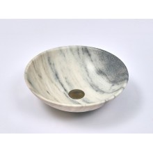 420x420x140mm Round Nature Stone Basin Top Mounted