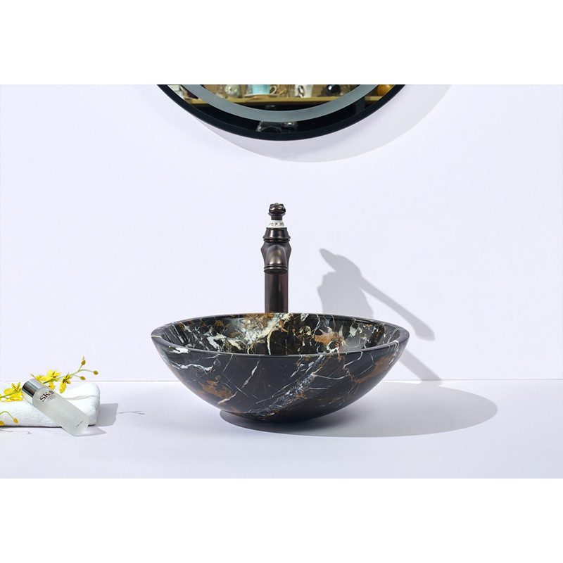 420mm Round Black Onyx Nature Stone Basin IS036