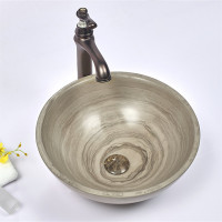 420x420x140mm Wooden Grey Marble Stone Round Wash Basin