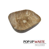 505x400x140mm Gloss Marble Oak Surface Bathroom Rectangle Curved Rim Above Counter Wash Ceramic Basin
