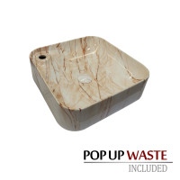 425x425x120mm Square Gloss Marble Oak Surface Bathroom Above Counter Wash Basin with Tap Hole
