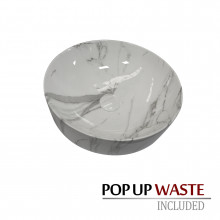 415x415x130mm Round Gloss Marble Carrara Surface Bathroom Above Counter Wash Basin