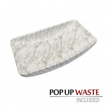 700x390x135mm Special Shape Gloss Marble Carrara Surface Bathroom Above Counter Wash Ceramic Basin