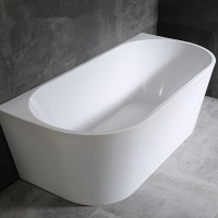 1500x750x600mm Venus Bathtub Back to Wall Freestanding Acrylic GLOSSY White Bath tub