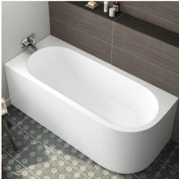 1700x800x600mm Nerida Bathtub Left Corner Back to Wall Freestanding Acrylic GLOSS White Bath tub NO Overflow