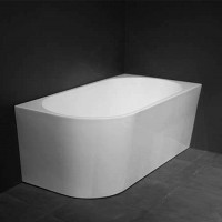 1500x750x600mm Nerida Bathtub Right Corner Back to Wall Freestanding Acrylic GLOSS White Bath tub NO Overflow