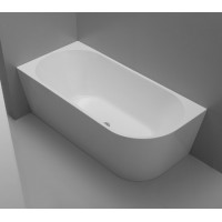 1500x750x600mm Nerida Bathtub Left Corner Back to Wall Freestanding Acrylic GLOSS White Bath tub NO Overflow