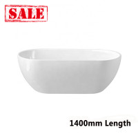 1400x750x570mm Noah Oval Bathtub Freestanding Acrylic GLOSSY White Bathtub NO Overflow
