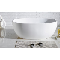 1530x770x560mm Noah Oval Bathtub Freestanding Acrylic GLOSS White Bath tub NO Overflow