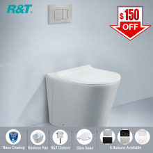 R&T Frameless Inwall Concealed Cistern With Nano Rimless Wall Floor Toilet Pan & Push Button SET