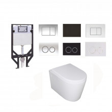 R&T Framed Inwall Cistern With Push Button Chrome Black and BOX RIM Wall Hung Toilet Pan