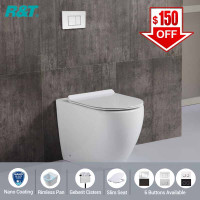 R&T Frameless Inwall Concealed Cistern With Rimless Nano Coating Wall Faced Floor Toilet Pan & Push Button SET
