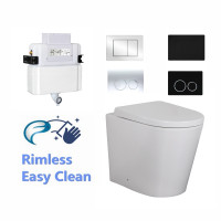 R&T Frameless Low Level In-wall Cistern With Push Button And RIMLESS Wall Faced Floor Pan SET Top or Front Flush Available