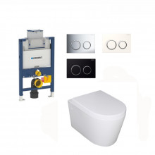 Geberit Kappa-F Framed Inwall Cistern & Push Button With Wall Hung Toilet Pan Top or Front Flush Available
