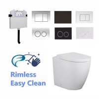 R&T Frameless Inwall Concealed Cistern With Rimless Elvera Wall Faced/ Floor Toilet Pan & Push Button SET