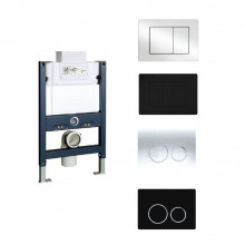 R&T Framed Low Level In-wall Cistern With Push Button Options Chrome Black For Wall Hung Pan Top or Front Flush Available