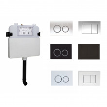 R&T Frameless Inwall Cistern and Chrome Black Push Button Available Suit for Wall Faced Floor Toilet Pans