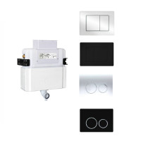 R&T Frameless Low Level In-wall Cistern and Chrome Black Push Button Options For Wall Faced Floor Pan Top or Front Flush Available
