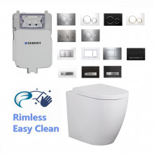 Geberit Sigma8 Frameless Inwall Concealed Cistern & RIMLESS Wall Floor Faced Toilet Pan & Push Button Set