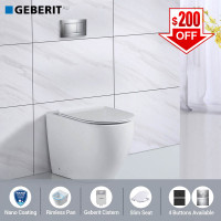Geberit Sigma8 Inwall Concealed Cistern & Rimless Wall Faced Toilet Pan & Push Button