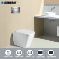 Geberit Sigma8 Inwall Concealed Cistern & Wall Faced Toilet Pan & Push Button
