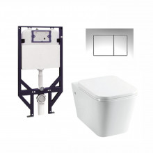 R&T Framed Inwall Concealed Cistern With Box Rim Wall Hung Pan & Push Button