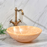 420x420x140mm Round Above Counter Basin Onyx Surface Bathroom Stone Wash Basin
