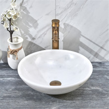 420x420x140mm Round Above Counter Basin White Marble Surface Bathroom Stone Wash Basin