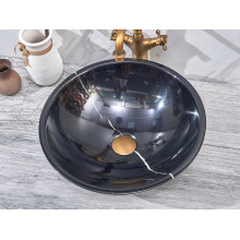 420x420x140mm Round Above Counter Basin Gloss Black Marble Surface Bathroom Stone Wash Basin