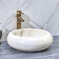 420x420x140mm Above Counter Stone Basin Round White Marble Surface Bathroom Wash Basin