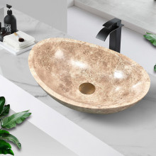 500x350x150mm Above Counter Stone Basin Oval Marble Surface Bathroom Wash Basin Antique