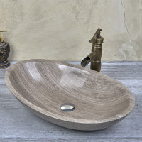 500x350x150mm Above Counter Stone Basin Oval Shape Marble Surface Bathroom Wash Basin Antique Vintage