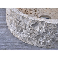 420x420x140mm Above Counter Basin Marble Surface Bathroom Round Stone Wash Basin Vintage Antique