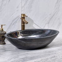 600x380x150mm Above Counter Stone Basin Oval Shape Marble Surface Bathroom Wash Basin Antique Vintage