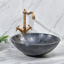 420x420x140mm Stone Round Above Counter Basin Dark Marble Surface