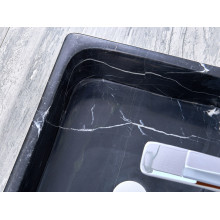 500x380x150mm Above Counter Stone Basin Rectangle Marble Surface Bathroom Wash Basin Antique Vintage with Tap Hole