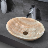 480x320x140mm Above Counter Stone Basin Oval Shape Yellow Onyx Surface Bathroom Wash Basin Antique Vintage