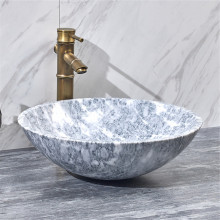420x420x140mm Above Counter Basin Marble Surface Bathroom Round Stone Wash Basin