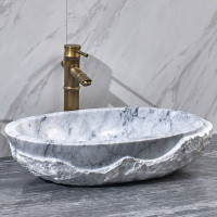 550x350x130mm Above Counter Stone Basin Oval Marble Surface Bathroom Wash Basin Antique Vintage