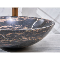 420x420x140mm Antique Above Counter Basin Marble Surface Bathroom Round Stone Wash Basin