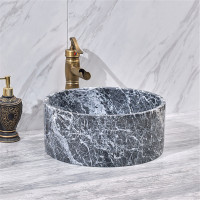 370x370x150mm Above Counter Basin Marble Surface Antique Vintage Bathroom Round Stone Wash Basin