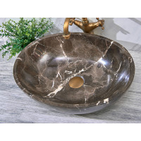 510x380x150mm Above Counter Stone Basin Oval Marble Surface Antique Vintage Bathroom Wash Basin