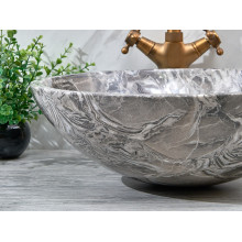 420x420x140mm Round Above Counter Basin Marble Surface Bathroom Stone Antique Vintage Wash Basin