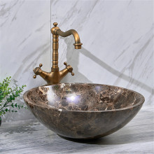 420x420x140mm Above Counter Basin Round Marble Surface Bathroom Stone Antique Vintage Wash Basin