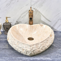 440x460x140mm Above Counter Stone Basin Heart Shape Marble Surface Bathroom Wash Basin