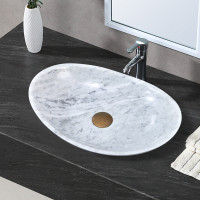 480x330x120mm Above Counter Stone Basin Oval Marble Surface Antique Vintage Bathroom Wash Basin