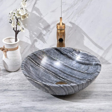 420x420x140mm Marble Finish Round Stone Basin Above Counter